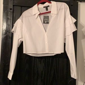 Forever 21 White Collar Puff Long Sleeve Crop Top